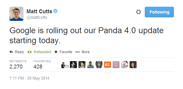 Matt Cutts announces Panda 4.0 on Twitter