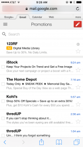 Gmail Sponsored Promotions on iPhone 6 plus