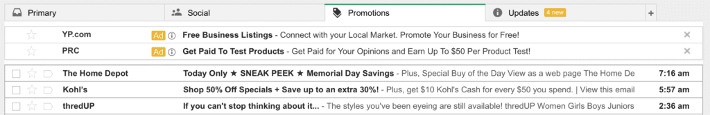 Gmail Sponsored Promotions on desktop