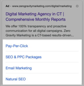 google ads site link extension on mobile