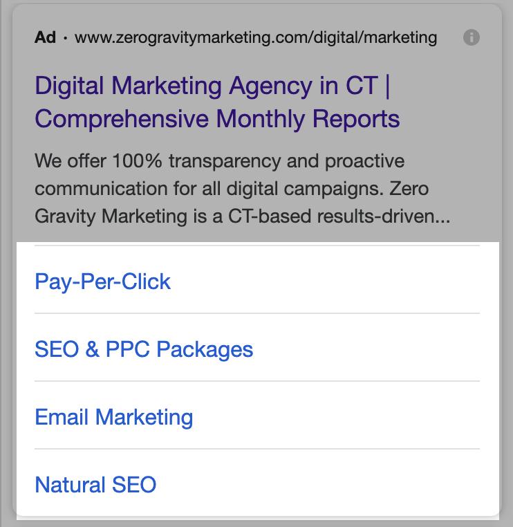 google ads site link extension on mobile